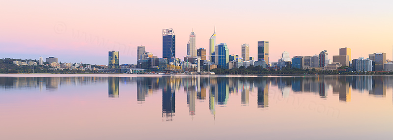 Perth and the Swan River at Sunrise, 19th March 2018