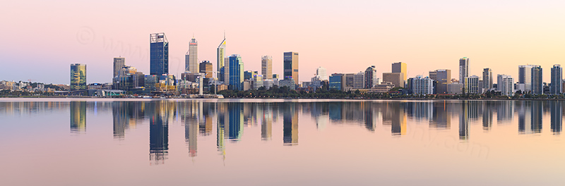 Perth and the Swan River at Sunrise, 29th March 2018