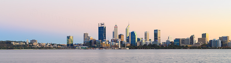 Perth and the Swan River at Sunrise, 3rd April 2018