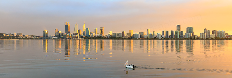Perth and the Swan River at Sunrise, 13th April 2018