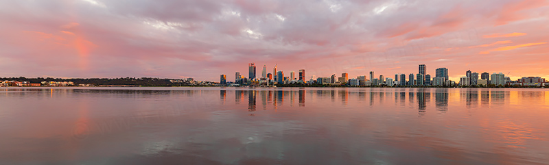 Perth and the Swan River at Sunrise, 24th April 2018