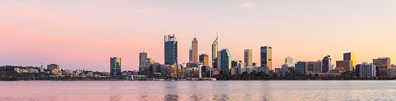 Perth and the Swan River at Sunrise, 30th April 2018