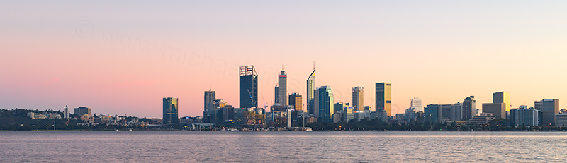 Perth and the Swan River at Sunrise, 5th May 2018