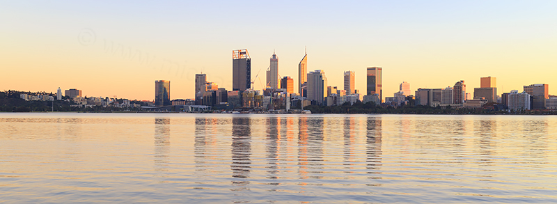 Perth and the Swan River at Sunrise, 21st May 2018