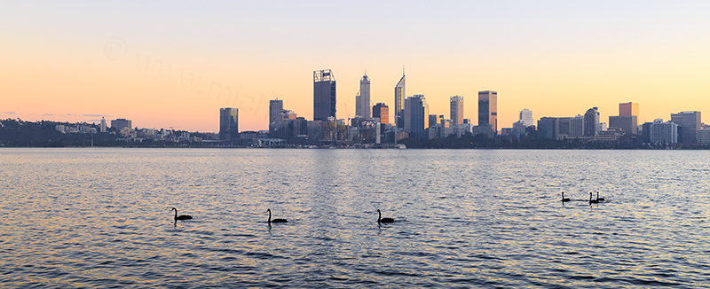 Perth and the Swan River at Sunrise, 29th May 2018