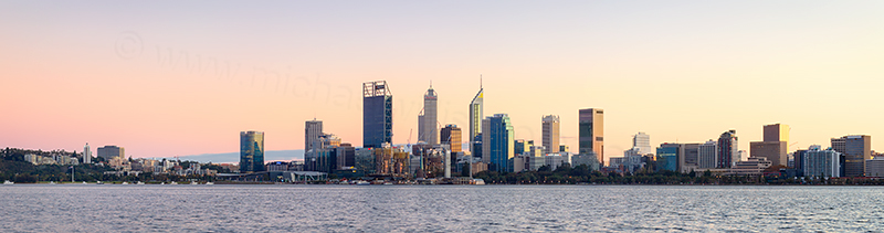 Perth and the Swan River at Sunrise, 2nd June 2018