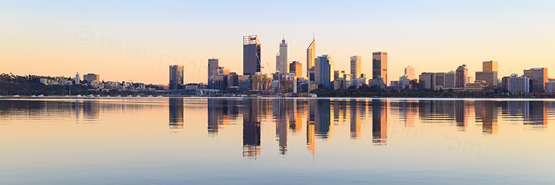 Perth and the Swan River at Sunrise, 3rd June 2018