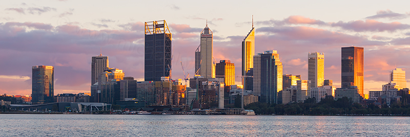 Perth and the Swan River at Sunrise, 8th June 2018