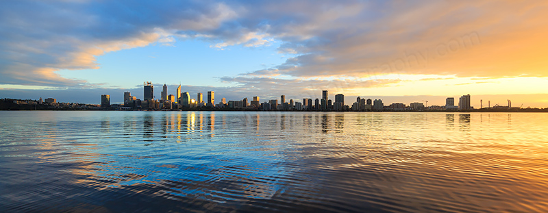 Perth and the Swan River at Sunrise, 11th June 2018