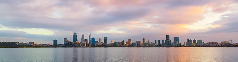 Perth and the Swan River at Sunrise, 13th June 2018