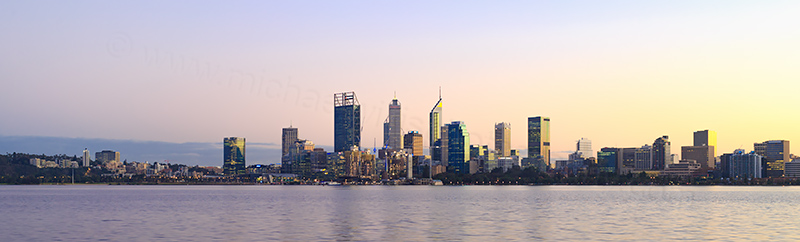 Perth and the Swan River at Sunrise, 14th June 2018