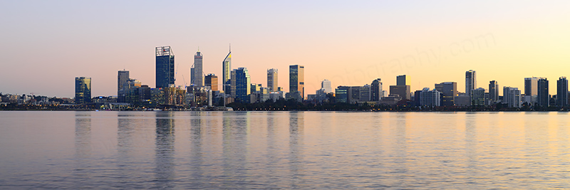 Perth and the Swan River at Sunrise, 15th June 2018