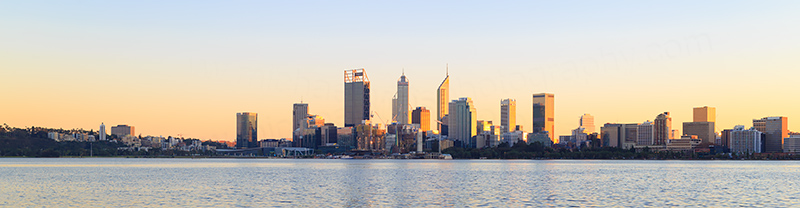 Perth and the Swan River at Sunrise, 16th June 2018