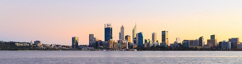 Perth and the Swan River at Sunrise, 17th June 2018