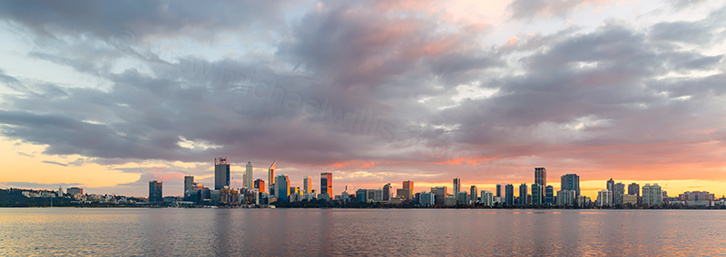 Perth and the Swan River at Sunrise, 21st June 2018