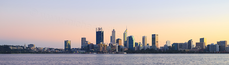Perth and the Swan River at Sunrise, 23rd June 2018