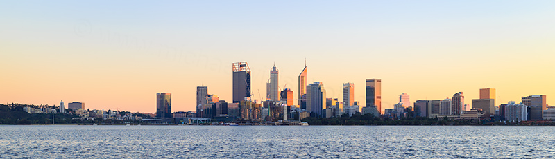 Perth and the Swan River at Sunrise, 24th June 2018