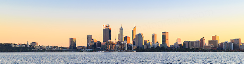 Perth and the Swan River at Sunrise, 25th June 2018