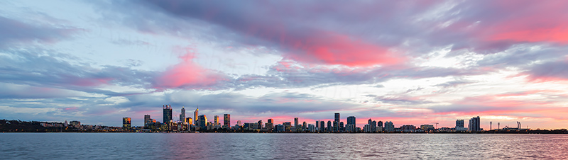 Perth and the Swan River at Sunrise, 26th June 2018