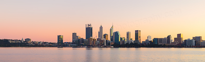 Perth and the Swan River at Sunrise, 29th June 2018