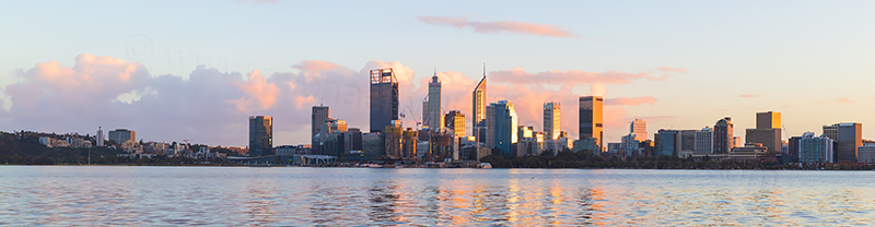 Perth and the Swan River at Sunrise, 13th July 2018