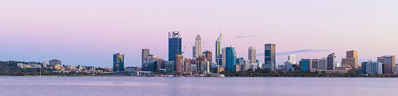 Perth and the Swan River at Sunrise, 2nd October 2018