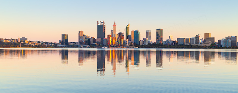 Perth and the Swan River at Sunrise, 16th October 2018