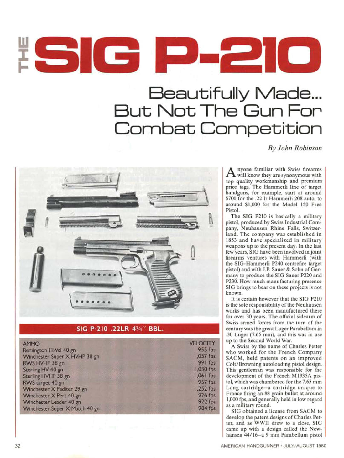 Sig P-210 -6 model review 7 pages article from 1980 and 1