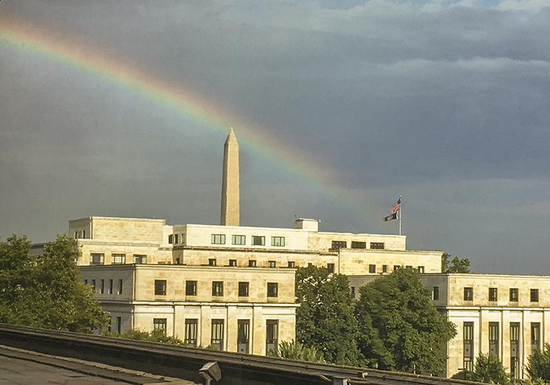 Washington Monument through a very dirty window