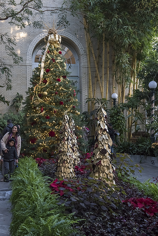 Holiday decorations in the Garden Court