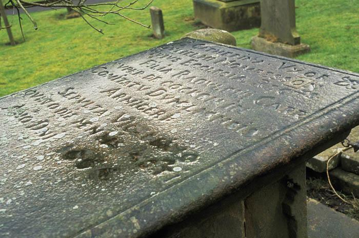 Gravestone at the plague village of  Eyam