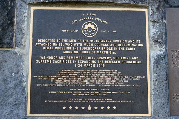 Dedication to the US Army 9th Infantry Division, March 1945