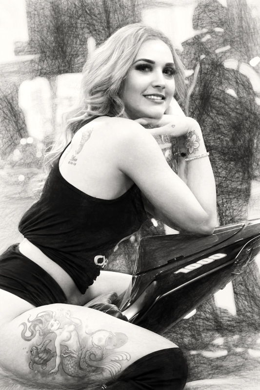 Girl on a Motorcycle BW