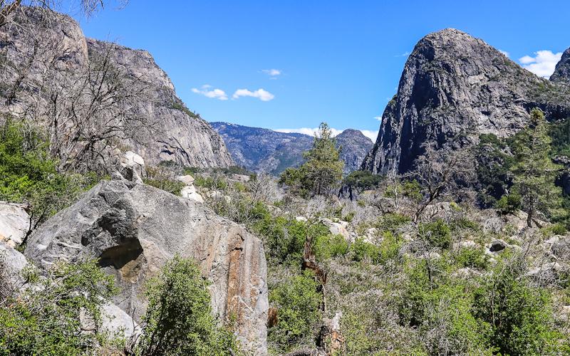 Hetch Hetchy Dome (left) and Kolana Rock (right) in the Hetch Hetchy Valley of Yosemite NP