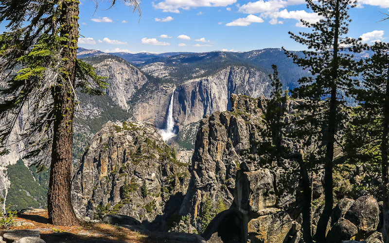Upper Yosemite Falls as seen from along the Pohono Trail in Yosemite National Park