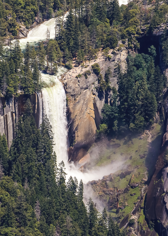 Vernal Falls (317 ft.) as seen from Glacier Point in Yosemite National Park