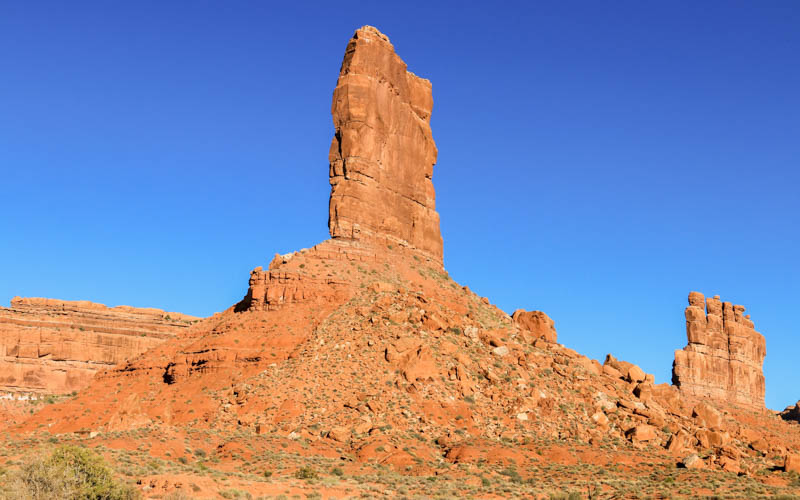 Castle Butte and Stagecoach Rock in the early morning in Valley of the Gods