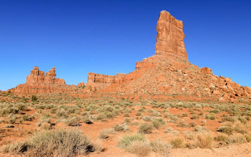 The Rudolph and Santa Claus formation with Castle Butte in Valley of the Gods