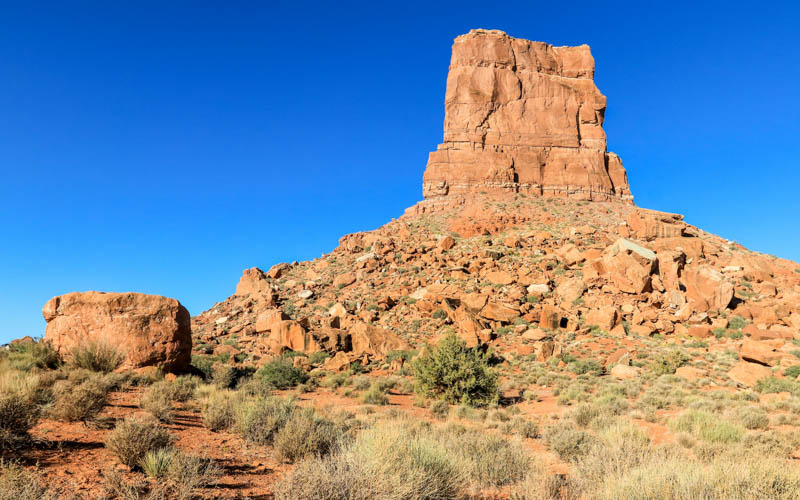 Castle Butte in direct early morning sun in Valley of the Gods
