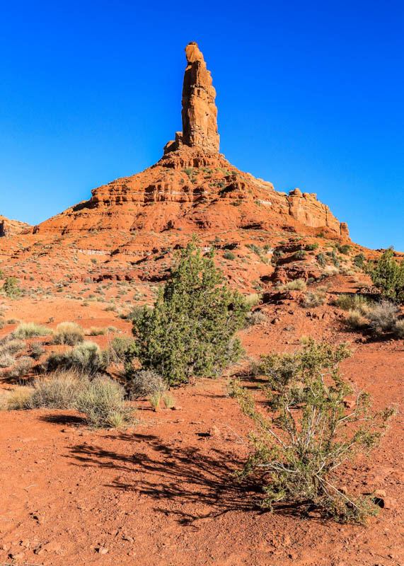 Front view of the Rudolph and Santa Claus formation in Valley of the Gods