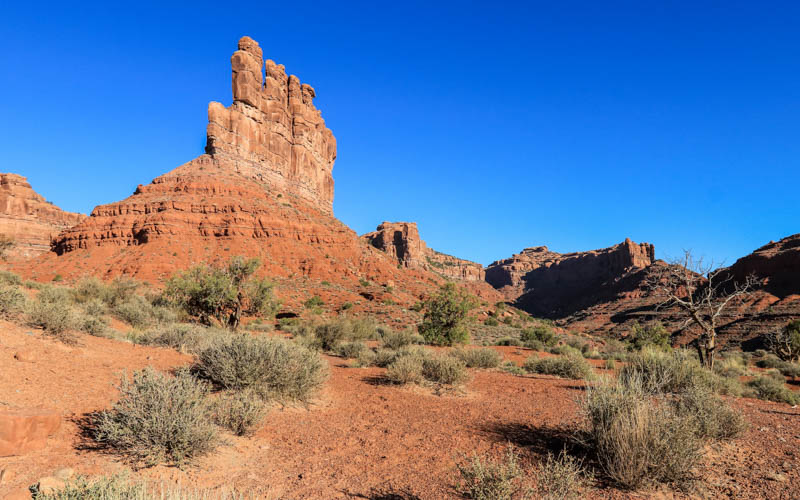 The morning sun on Stagecoach Rock in Valley of the Gods