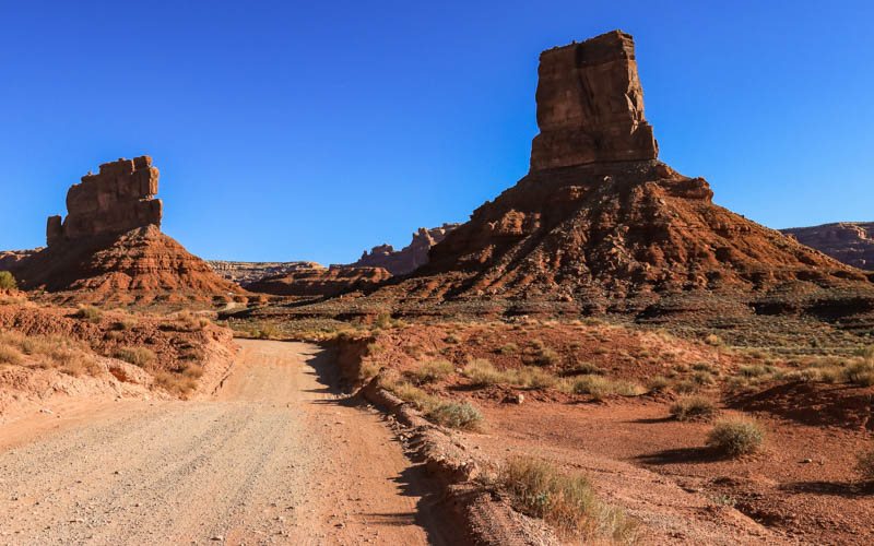 Stagecoach Rock and Castle Butte along the park road in Valley of the Gods