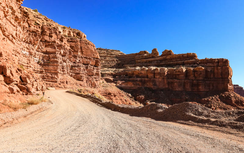 The roadway along the Moki Dugway dirt switchbacks in Valley of the Gods
