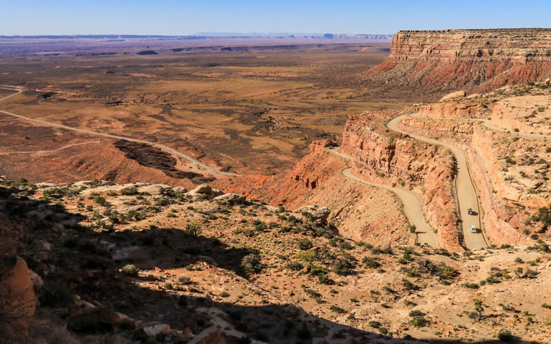 View of the Moki Dugway dirt switchbacks in Valley of the Gods