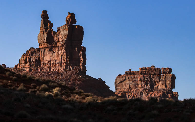 The Rudolph and Santa Claus formation and Stagecoach Rock near sunset in Valley of the Gods