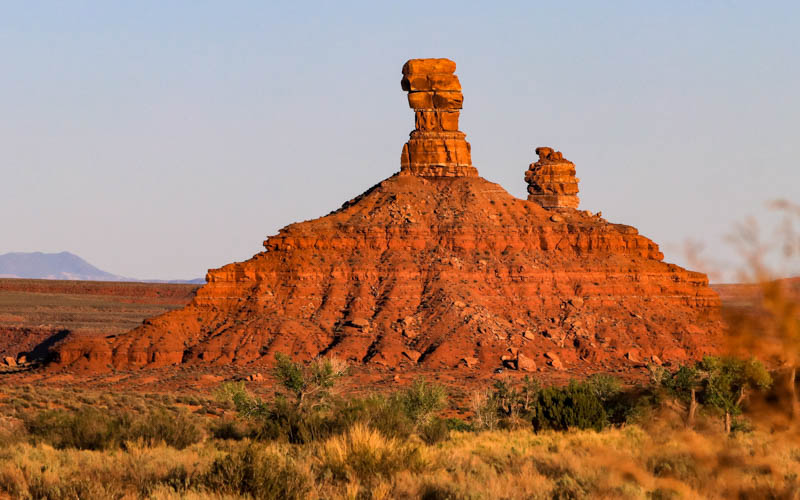 Rooster Butte turns reddish at sunset in Valley of the Gods