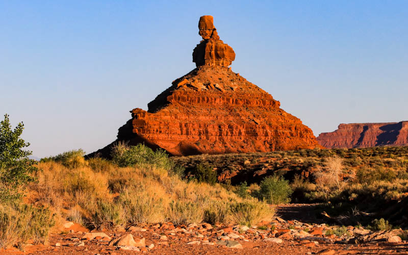 Battleship Rock just before sunset in Valley of the Gods