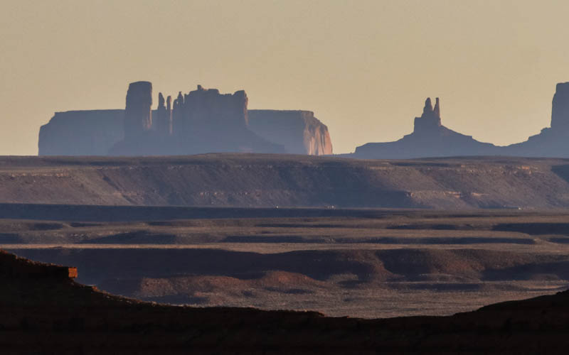 Monument Valley to the south from Valley of the Gods