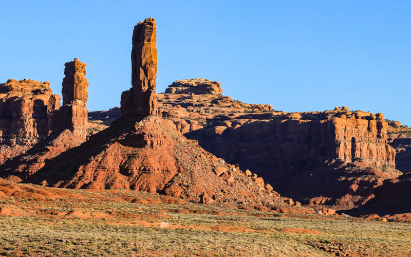 Closeup of Castle Butte bathed by the early morning sun in Valley of the Gods