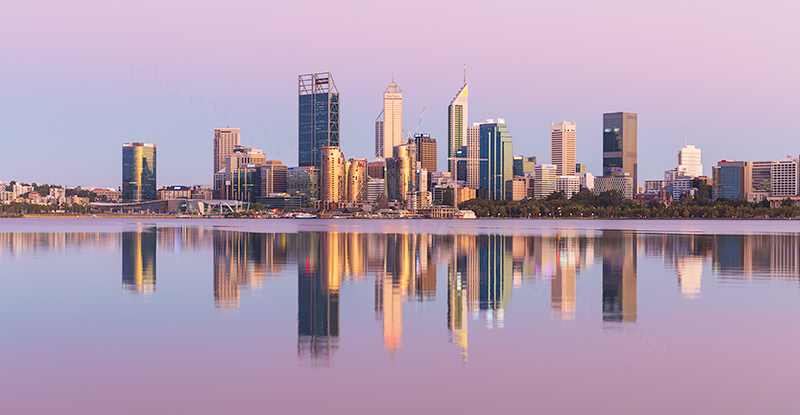 Perth and the Swan River at Sunrise, 11th January 2019